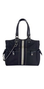 Bally Black & Grey Striped Canvas Shoulder Bag