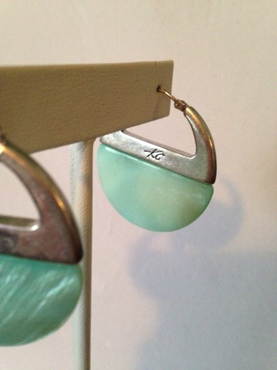 Kenneth Cole Silver-Tone Pastel Turquoise Hoop Earrings