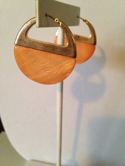 Kenneth Cole Silver-Tone Orange Hoop Earring
