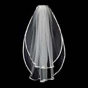 White Medium Satin Ribbon Edge Elbow Lenght Bridal Veil