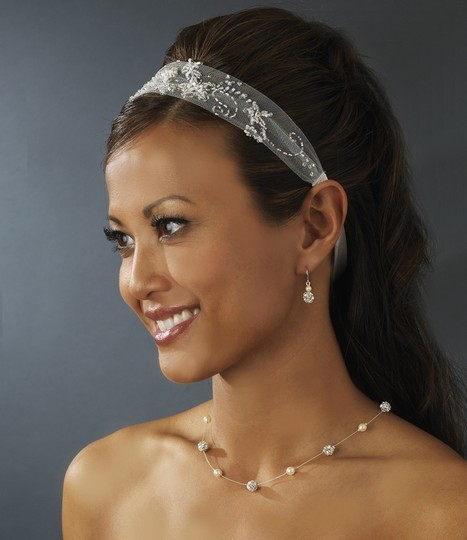 White Or Ivory Classic Netted Rhinestone Bead Floral Ribbbon Headband Hair Accessory
