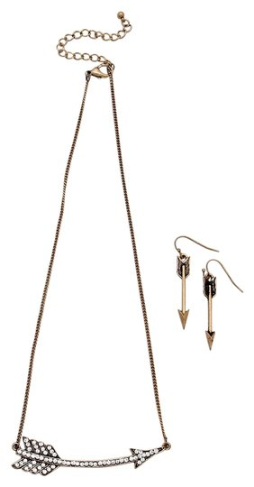 Other Crystal Accent Rustic Gold Chain Arrow Pendant Necklace and Earring Set