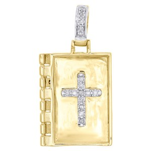 Other 10k Yellow Gold Real Diamond Holy Book Bible Cross Pendant 1.10 Charm 0.18 Ct.