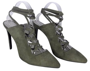 9e1a9ee92a6 PREEN by Thornton Bregassi Lace-up Olive Mules