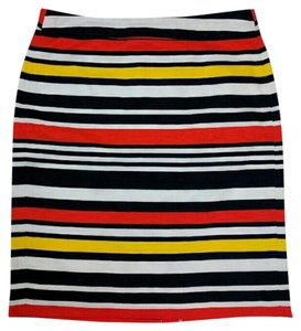 Banana Republic Lined Casual Striped Skirt Navy, White, Yellow, Orange