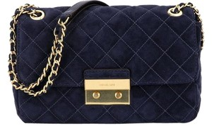 Michael Kors Nwt Suede Leather Navy/gold Satchel in Admiral (Navy)