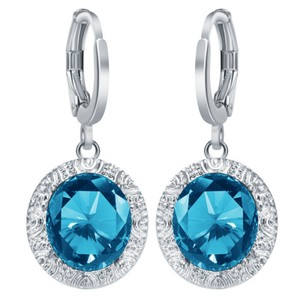 Other New Silver Tone Blue Crystal Dangle Earrings J3067