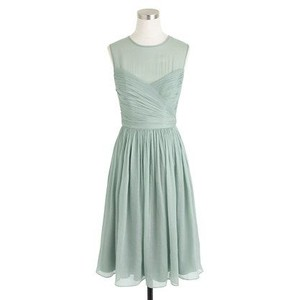 J.Crew Dusty Shale (green) Clara Dress In Silk Chiffon Dress