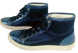 Alessandro Dell'Acqua Satin Patent Leather Sneakers Blue Athletic