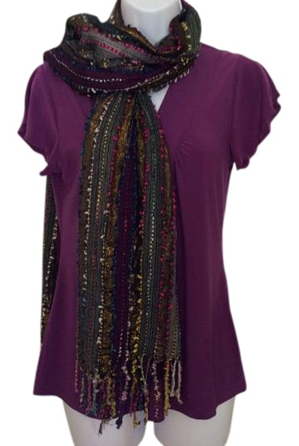 Item - Multi Grey Burgundy Hot Pink and Gold Metallic Multi-colored Made Of Rayon Scarf/Wrap