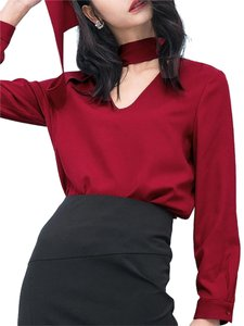 Even Though Pussy Bow V Neck Longsleeve Top Crimson