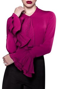 Marked Queen Front Ruffle Trumpet Sleeves Top Purple