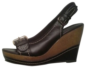 Montego Bay Club Silver Hardware Wood Faux Leather Brown Wedges