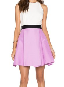 Halston short dress White/Light Purple White And Light Color-block Skater on Tradesy