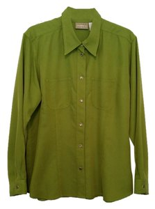 Liz Claiborne Button Down Shirt Lime Green