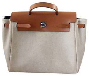 Hermès Leather Kelly Canvas Satchel in Linen and Cognac