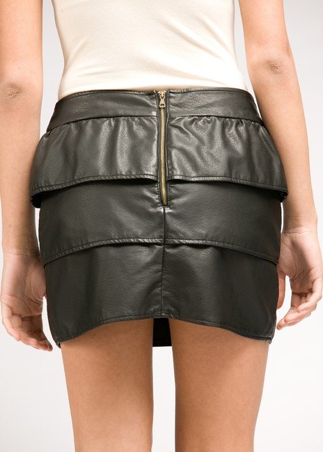 Tulle Pleather Mini Tier Biker Skirt Black