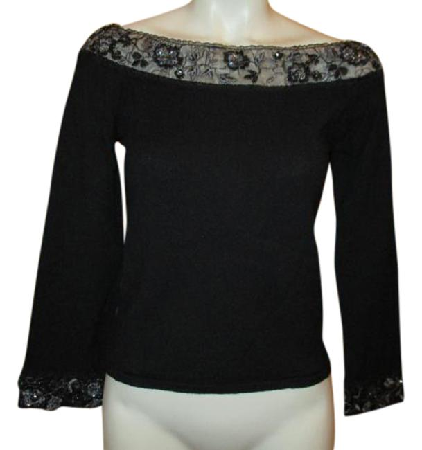 Preload https://img-static.tradesy.com/item/20341849/black-bette-paige-34-sleeve-embellished-sweater-night-out-top-size-4-s-0-2-650-650.jpg