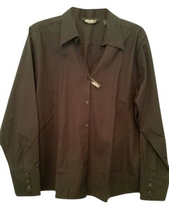 Eddie Bauer Cotton Stretch Button Down Shirt Black