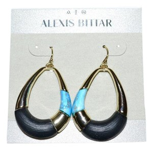 Alexis Bittar ALEXIS BITTAR LUNA Lucite Modern Dangler Earrings BLACK TURQUOISE