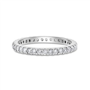 0.48 CT Natural Round Diamond Eternity Band in Solid 18k White Gold