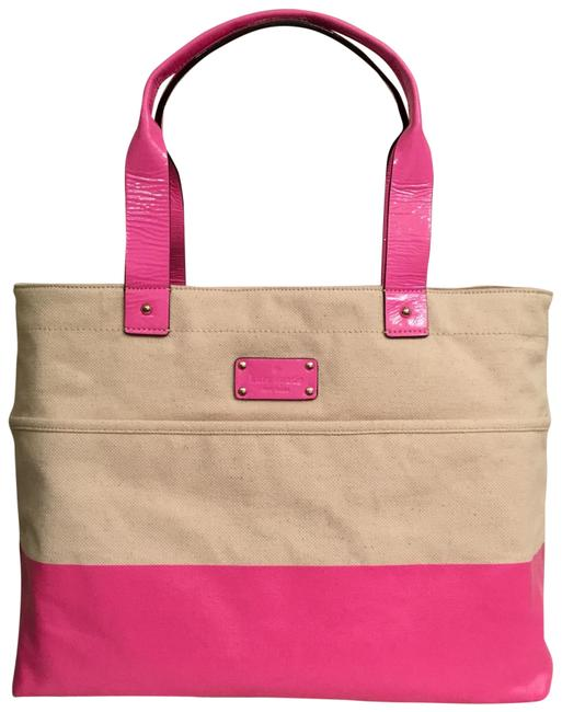 Kate Spade New Horseshoe Cove Cotton Protected Coating Patent Leather Trim White Pink Canvas Tote Kate Spade New Horseshoe Cove Cotton Protected Coating Patent Leather Trim White Pink Canvas Tote Image 1