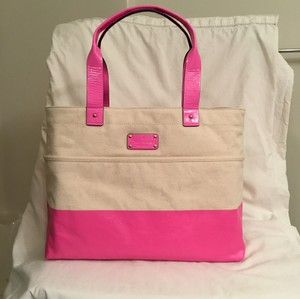 Kate Spade Patent Leather Beach New/nwt Travel Tote in Natural White/Pink