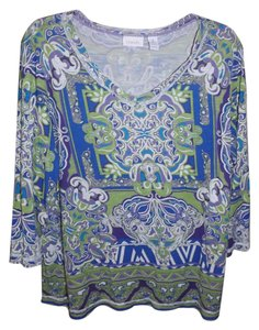 Chico's Oriental Floral Geometric Top Purple, Green, Blue, White