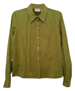 Liz Claiborne Faux Suede Button Down Shirt Lime Green