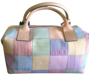 Dooney & Bourke Satchel in White with Pastel Multicolor Squares