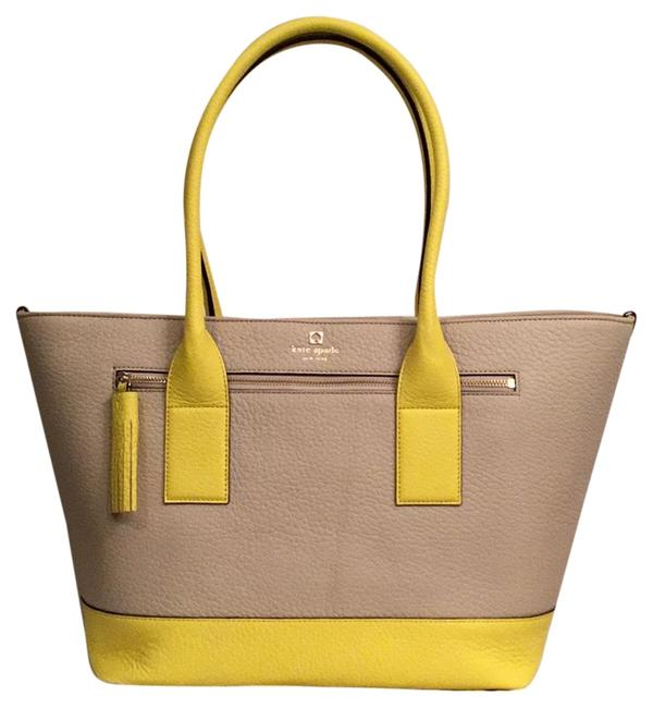 Kate Spade New Southport Ave. Med. Harmony Beige Yellow Leather Tote Kate Spade New Southport Ave. Med. Harmony Beige Yellow Leather Tote Image 1