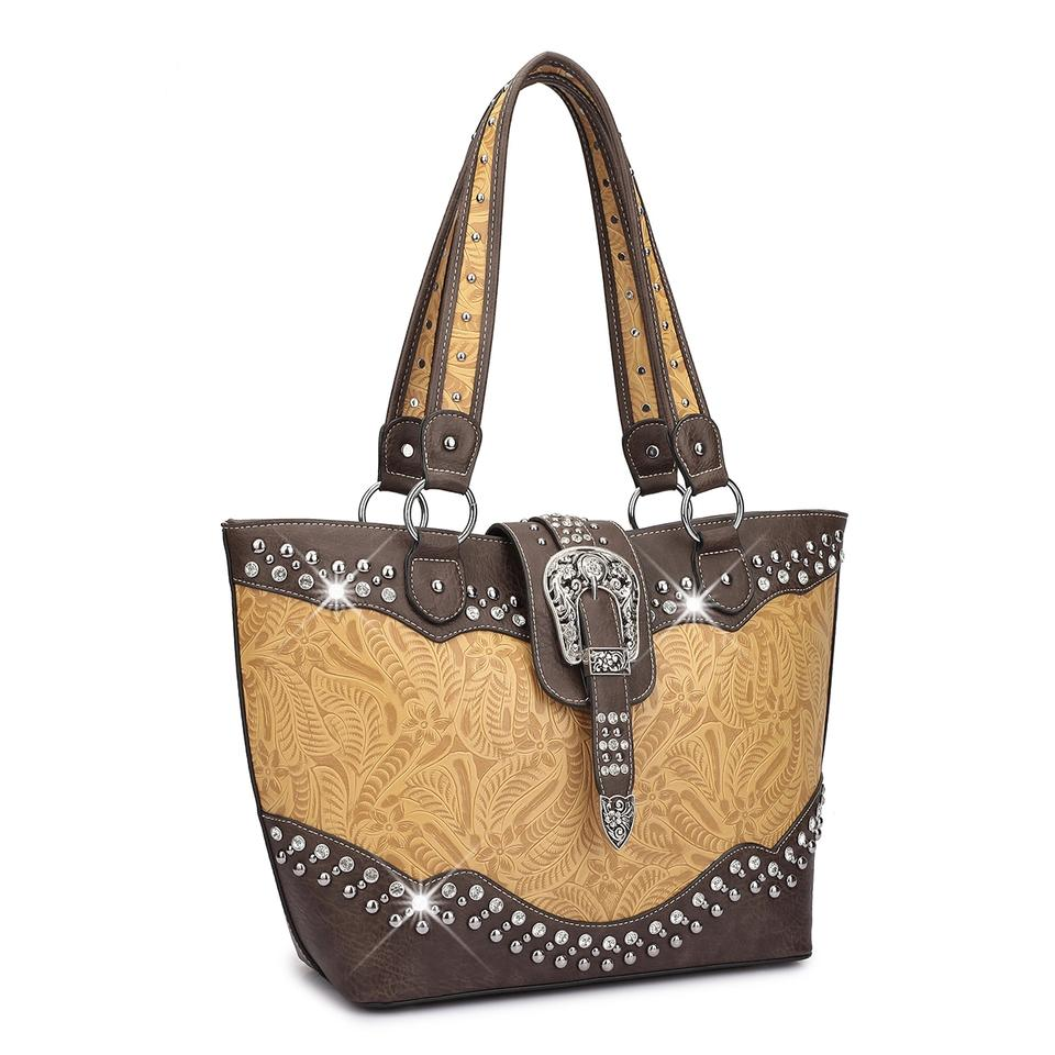 Western Style Rhinestone Camo Mustard Faux Leather Tote 68 Off Retail