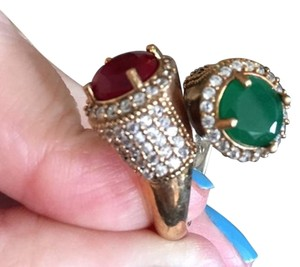 NEW SOLID STERLING SILVER RING WITH RUBY, EMERALD and TOPAZ