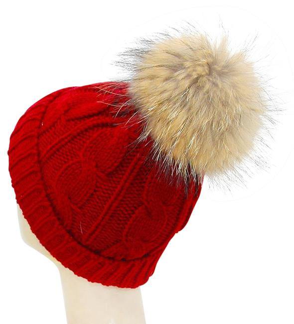 Red Warm Knit Beanie Winter with Genuine Raccoon Fur Pom Pom Hat Red Warm Knit Beanie Winter with Genuine Raccoon Fur Pom Pom Hat Image 1