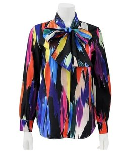 Gracia Multi Button Bowtie Top Multi-color