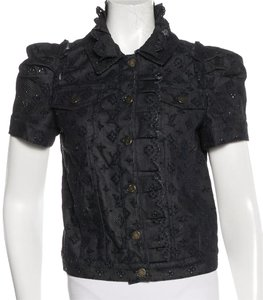Louis Vuitton Denim Lace Lv Monogram Logo Embroidered Button Down Shirt Navy blue, Blue