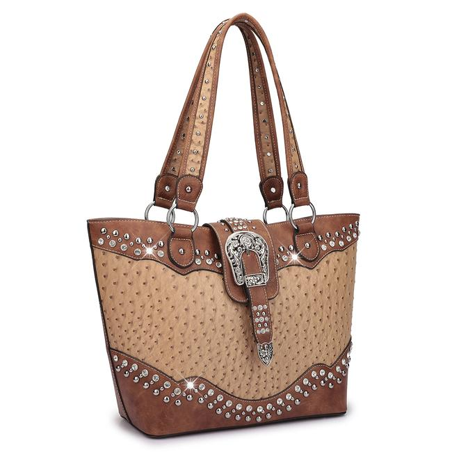 Western Style Ostrich Rhinestone Tan Faux Leather Tote Western Style Ostrich Rhinestone Tan Faux Leather Tote Image 1