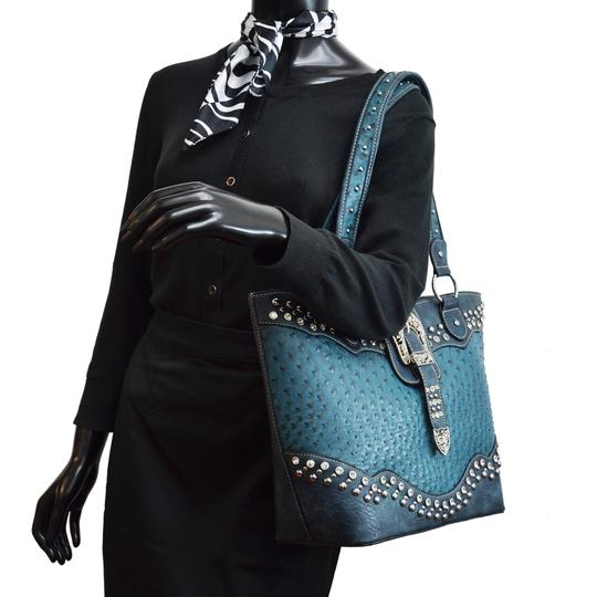 Western Style Ostrich Rhinestone Ocean Faux Leather Tote