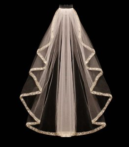 Cascade Beaded Embroidery Fingertip Length Wedding Veil