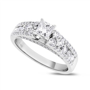 1.10 CT Natural Princess Cut Diamond Engagement Ring in Solid 14k Whit