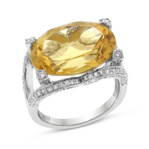 Other 12.55 CT Natural Diamond & Oval Citrine Cocktail Ring in Solid 14k Whi