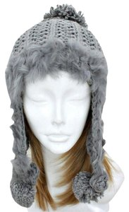 Warm Knitted Gray Beanie Fur Trimmed Earflap Pompom Winter Hat