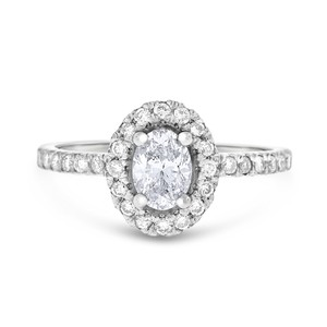 Other 0.96 CT Natural Oval Shape Diamond Halo Engagement Ring in Solid 14k