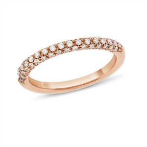 Other 0.30 CT Natural Diamond Pave Rounded Wedding Band in Solid 14k Rose Go