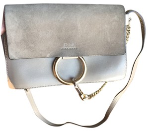 Chloé Gold Hardware Leather Suede Cross Body Bag