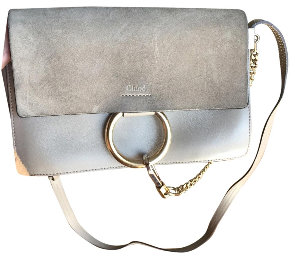Chloé Faye Small Shoulder Gray Leather and Suede Cross Body Bag ... ef0b7d251