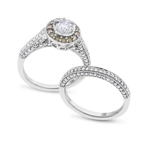 1.22 CT Natural Round Diamond Halo Engagement & Wedding Ring Set Solid