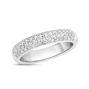 Other 0.50 CT Natural Diamond Round Pave Wedding Band in Solid Platinum