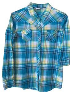 Ariat Cotton Fitted Metallic Button Down Shirt Plaid Turquoise