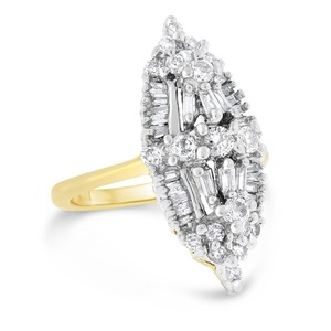 Other 1.00 CT Classy Natural Diamond Cocktail Ring in Solid 14k Two Tone
